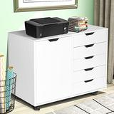 White File Cabinet, Lateral File Cabinet for Home Office, Wood Rolling File Cabinet Printer Stand with File Cabinet, 5 Drawers Plus 2-Compartment Cabinet, Large Capacity Drawers Units, 31 Inch