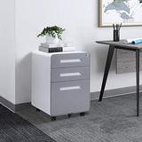 3 Drawer Rolling File Cabinet with Lock, Small Filing Cabinet Under Desk for Home Office, Locking Mobile File Cabinet with Wheels, Metal Rolling Office Cabinet (Fully Assemble, Steel, Grey)