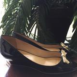 Kate Spade Shoes | Kate Spade Peep Toe Slip On Wedge Heels Size 6 B | Color: Black/Cream | Size: 6