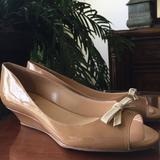 Kate Spade Shoes   Kate Spade Peep Toe Slide On Wedge Heels Size 6 B   Color: Cream/Tan   Size: 6