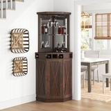 Sand & Stable™ Adam Bar w/ Wine Storage Wood in Brown, Size 72.4 H x 23.62 D in   Wayfair 28A1FF966FDB42DDB583A2061265D0A6