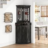 Sand & Stable™ Adam Bar w/ Wine Storage Wood in Gray/Black, Size 72.4 H x 23.62 D in   Wayfair D92328CF61D84F0FA8BD562255C38D26