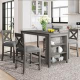 Gracie Oaks 5 Pieces Counter Height Rustic Farmhouse Dining Room Wooden Bar Table Set w/ 4 Chairs, Gray Wood/Upholstered Chairs in Brown/Gray