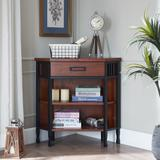 Ironcraft Foyer Corner Bookcase with Drawer Storage, Mission Oak - Leick Home 11264