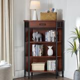 Ironcraft One Drawer Mantel Height Corner Bookshelf, Mission Oak and Matte Black - Leick Home 11263