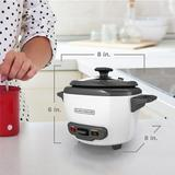 BLACK+DECKER 3-Cup Electric Rice Cooker with Keep-Warm Function, White