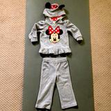 Disney Matching Sets   Girl Toddler Track Minnie Mouse Track Suit   Color: Gray/Red   Size: 18-24mb