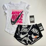 Nike Matching Sets | Nike Girls T-Shirt & Dri-Fit Shorts Set Outfit | Color: Black/White | Size: Various