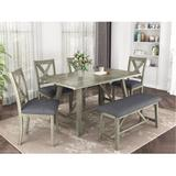 Gracie Oaks 6 Piece Dining Table Set Wood Dining Table & Chair Kitchen Table Set w/ Table, Bench & 4 Chairs, Rustic Style, Gray in Brown/Gray
