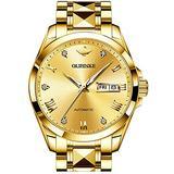 Swiss Brand Mens Automatic Watch Business Dress Luxury Wristwatch Gold Mechanical Self Winding Movement Sapphire Crystal Day Date Display Tungsten Steel Waterproof Luminous Gifts