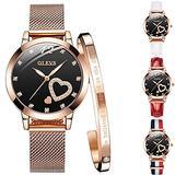 Women's Watch Bangle Bracelet Set of 5, 1 Mesh Band Heart Diamond Waterproof Wrist Watch Japanese Quartz Movement Analog Quartz Watch, 1 Rose Gold Cuff Bangle, 3 Replace Watch Straps