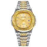 Men's Gold Tone Watch Retro Pattern Sculpture Stainless Steel Analog Display with Date (Silver Gold)