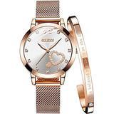Women's Watch Bangle Bracelet Set, Waterproof Rose Gold Heart Diamond Wrist Watch for Ladies, Japanese Quartz Movement Mesh Band Analog Quartz Wristwatch Gifts for Her