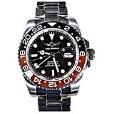 Time Warrior Navy Seal Swiss Men's GMT Watch Black Dial, 316L CASE - Black and Blue Brown, Swiss Quartz Movement, Men's Watch Pro Diver Watch, Sapphire Glass,