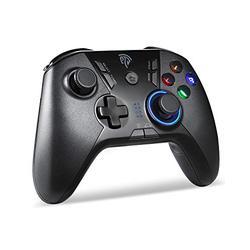 EasySMX PS3 Controller für PC und PS3, kabellos, wiederaufladbar, 9110, PC-Controller PS3, Schwarz
