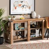 Baxton Studio Angelo Modern Rustic Oak Brown Finished Wood Console Table - Wholesale Interiors BST-SET1639-Yukon Eiche-Console