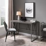 Design House Furniture Collapsible X Desk, Weathered Wood/Satin Nickel - Leick Home 70002-WWNK
