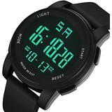 Sports Watch,Digital Watch,30M Waterproof Sports Watches for Men, Mens Luminous Sports Smart Watch,12H/24H Stopwatch Calendar Wrist Watch(Black)