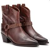 Vintage Foundry Co. Mia Women's Fashion Hand-crafted Studded Harness Rugged American Western Biker Cowboy Brown Leather Slip-On Ankle-Boots, Medallion, Pointed-Toe, Cuban Heel, Rubber Outsole; Size 9.5