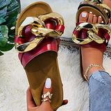 Hwcpadkj Womens Open Toe Platform Wedge Espadrilles Flatform Wedge Sandals Buckle Peep Toe Shoes Leisure Chain one-line Flat Beach Sandals and Slippers,Red,37