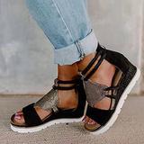 XLBHSH Womens Open Toe Ankle Strap Platform Wedge Casual Espadrilles Flatform Wedge Sandals Espadrilles Sandal Back Zipper Peep Toe Flatform Shoes Comfy Platform Sandals,02,39