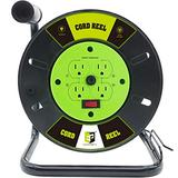 EP 60 Ft Open Cord Reel with 4 Electrical Power Outlets, Heavy Duty Extension Cord Reel,Hand Wind Retractable,14/3 AWG SJTW,13 Amp Circuit Breaker,Black/Green