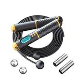 Jump Rope Speed Skipping Rope with Calorie Counter Weighted Jump Ropes for Fitness Jumping Rope with Adjustable Length Cordless Jump Rope for Indoor and Outdoor Workout for Men Women Kids (A)