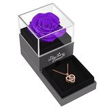 Mothers Day Flowers Gifts Set, Preserved Purple Real Rose with I Love You Necklace -Enchanted Eternal Rose Flower for Mother's Day Valentine's Day Christmas Anniversary Birthday Romantic Gifts for Her