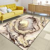 Modern Abstract Area Rugs for Living Room Brown Gold 3D Illusion Contemporary Carpets for Bedroom Artistic Home Decore Rugs Coffee Table Floor Mats Kitchen Dining Room Runner Rugs 5x7ft E