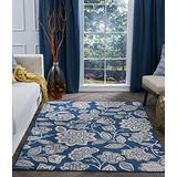 Tayse Emmalyn Navy 8x10 Rectangle Area Rug for Living, Bedroom, or Dining Room - Transitional, Floral