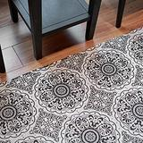MOTINI Runner Rug, Hand Woven Cotton Area Rug with Tassals,Black and White Print Floral Accent Rug for Living Room, Bedroom, Doorway, Hallway, Entry 2'x6'