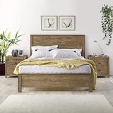 Yes4wood Albany Rustic Solid Pinewood Bedroom Set (Queen Size Bed + 2 Drawer Nightstands), Box Spring Needed (Rustic Walnut)