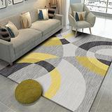 Xiakolaka Modern Abstract Geometric Triangles Grey Yellow Area Rug Soft Pastel Multi Color Squares Geometric Area Rugs Living Room 4'0''x6'7'' Non-Slip Modern Rugs