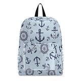Nautical Anchors Ship Boat Steering Wheel Travel Laptop Backpack Laptop Backpacks Men Women Student School College Bookbag Hiking Daypack Computer Bag Shoulder Bag Fits 15.6 Inch Laptop