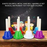 8-Note Hand Bell Set Children Musical Instrument Colorful Hand Bell Kid Musical Toy Durable for Resource Learning Center for Any Daycare