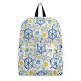 Starfish Shells and Steering Wheel Travel Laptop Backpack Laptop Backpacks Men Women Student School College Bookbag Hiking Daypack Computer Bag Shoulder Bag Fits 15.6 Inch Laptop