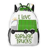 Funny Bookbags for Kids, Student Backpack for Girls, Backpack for Traveling I Love Garbage Trucks
