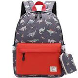 Kids backpacks,Mygreen Cute Lightweight Water Resistant Preschool Backpack for Boys and Girls Chest Strap, Orange Red Dinosaurs