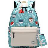 Cute Kid's Toddler Backpack Cartoon Animals Schoolbag for Boys Girls,Kindergarten Children Bag Preschool Nursery Travel Bag with Chest Clip Beige