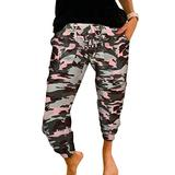 ROSKIKI Womens Plus Size Lightweight Sweatpants Camouflage Print Activewear Casual Drawstring Elastic Waist Yoga Fit Joggers Pants Workout Track Long Pants with Pockets Bottom Trousers Pink 4X-Large