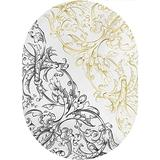 Floral Area Rugs Carpets,Floral Arrangement Two Palette Flowers Curls Swirls Leaves Petals Home Collection Modern Area Rug,3'x 5'Oval,for Living Rooms,Dining Rooms,Open Floorplans