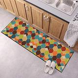 Carpet Runners for Hallway Multicolor Geometric Grid 43Inch X 7Feet Rugs Washable Printed Area Rug Runner Non Skid Backing Kitchen Entry Accent Low Pile Rugs Clearance