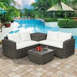 Red Barrel Studio® 4 PCS Outdoor Cushioned PE Rattan Wicker Sectional Sofa Set Garden Patio Furniture Set ( Cushion)Metal/Wicker/Rattan/Rust in Gray