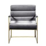 Everly Quinn Italian Light Luxury Accent Chair, Contemporary Velvet Upholstered Armchair w/ Bright-Colored Cushions, For Living Room, Bedroom in Gray