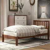 Red Barrel Studio® Wood Platform Bed w/ Headboard/Wood Slat Support,Twin (Walnut) Wood in Brown, Size 43.0 W x 78.0 D in | Wayfair