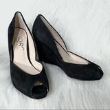 Michael Kors Shoes | Michael Kors Suede Peep Toe Scalloped Black Wedges | Color: Black | Size: 8