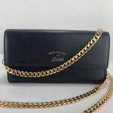 Gucci Bags | Gucci Leather Flap Wallet On Chain | Color: Black | Size: 8 X 4 X 1 Inches