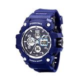 Men's Digital Sports Watch Outdoor 50M Waterproof Military Watch Date Multifunction LED Backlighting Stopwatch Analog Digital Dual Display 12H/24H (Blue)