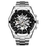 NICERIO Mechanical Skeleton Watch- Automatic Large Dial Watch for Men Unique Luminous Sport Mens Watches Waterproof Business Stainless Steel Wrist Watches (Silver)