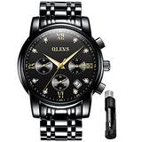 OLEVS Watch for Man Easy Reader Mens Stainless Steel Wrist Watch Waterproof Casual Quartz Analog Wrist Watch Hour/Minute/Second -Black…